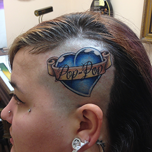 MJ Bonanno - Pop-pop Heart Tattoo on Head