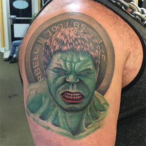 MJ Bonanno - Incredible Hulk Portrait Tattoo